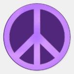 Lavanda en signo de la paz púrpura oscuro pegatinas redondas