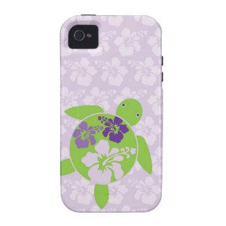 Lavanda hawaiana de la tortuga de mar vibe iPhone 4 fundas