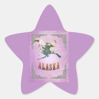 Lavanda moderna del dulce del mapa del estado de pegatina en forma de estrella