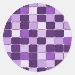 Lavanda púrpura de la lila de mosaico del modelo b pegatina redonda