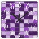 Lavanda púrpura de la lila de mosaico del modelo b relojes de pared