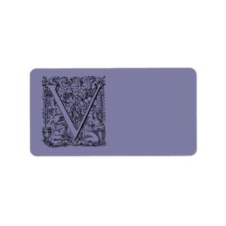 """Lavanda púrpura pálida """"V """" del monograma de la le Etiquetas De Dirección"""