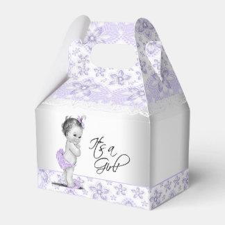 Lavanda púrpura y fiesta de bienvenida al bebé caja para regalos de fiestas