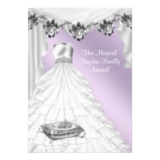 Lavanda Quinceanera color de rosa púrpura del vest Invitación