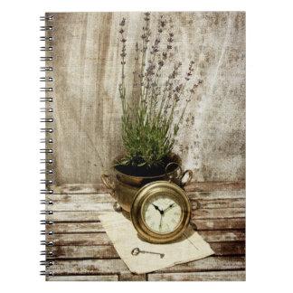 lavanda, reloj, vieja letra y ley - memorias libro de apuntes con espiral