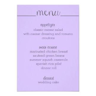 """Lavanda simple de la tarjeta del menú de la invitación 5"""" x 7"""""""
