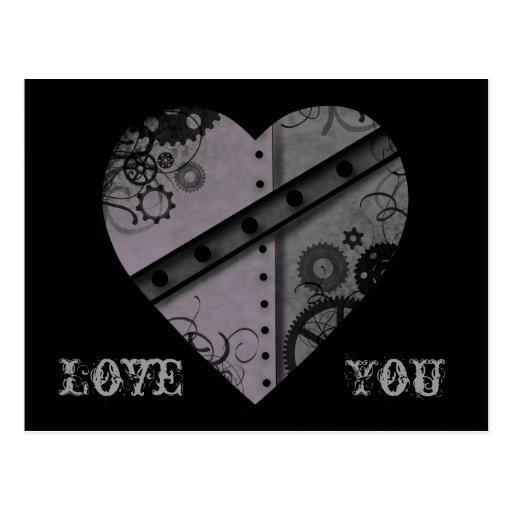 Lavanda y amor gris del corazón del steampunk uste