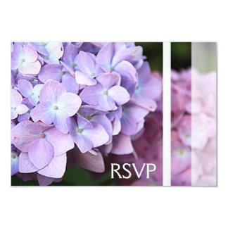"""Lavanda y amor rosado RSVP de los Hydrangeas Invitación 3.5"""" X 5"""""""