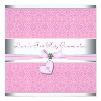 """Lavanda y comunión del corazón de la cruz rosada invitación 5.25"""" x 5.25"""""""