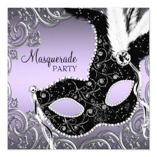 """Lavanda y fiesta negro de la mascarada de la invitación 5.25"""" x 5.25"""""""