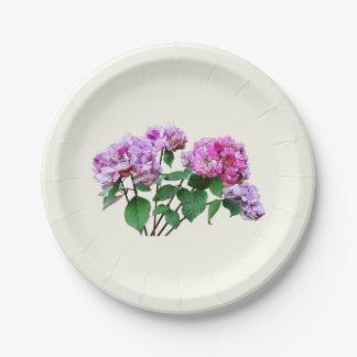 Lavanda y Hydrangeas color de rosa Platos De Papel