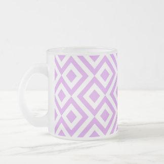 Lavanda y meandro del blanco taza cristal mate