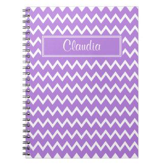 Lavanda y modelo de zigzag blanco spiral notebook