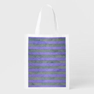 Lavanda y modelo gris de las rayas de la acuarela bolsa reutilizable