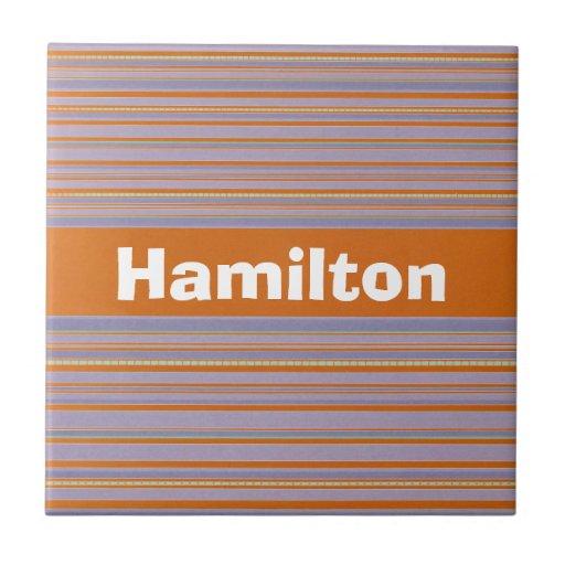 Lavanda y nombre anaranjado del personalizado de l azulejos cerámicos