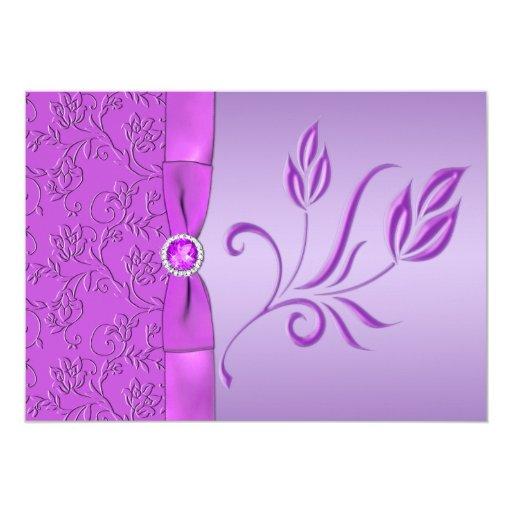 Lavanda y púrpura Jewelled casando la invitación Invitación 12,7 X 17,8 Cm