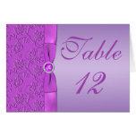 Lavanda y tarjeta púrpura del número de la tabla