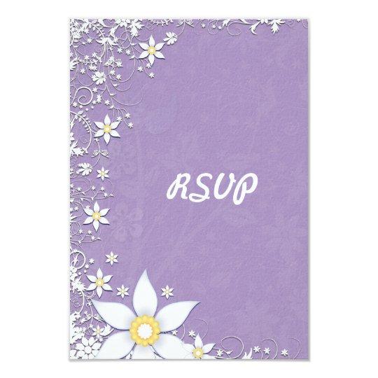 """Lavanda y tarjetas florales blancas de RSVP que se Invitación 3.5"""" X 5"""""""