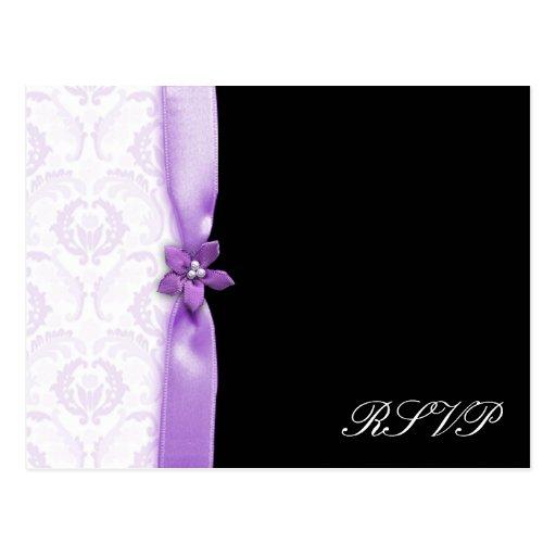 Lavander y paquete negro del boda del damasco postal