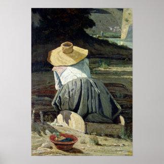 Lavandera por el río 1860 poster