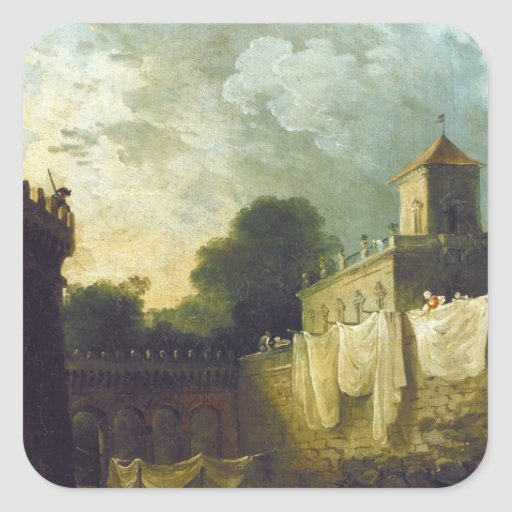 Lavanderas en la fosa de un chalet italiano pegatina cuadrada