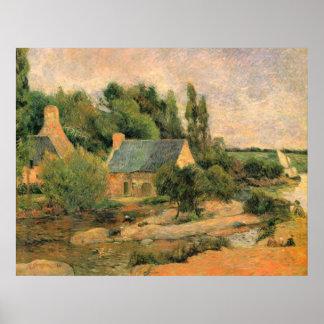 Lavanderas en Pont-Aven por Gauguin Póster