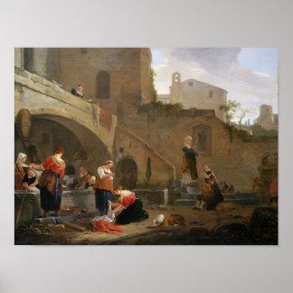 Lavanderas por una fuente romana póster