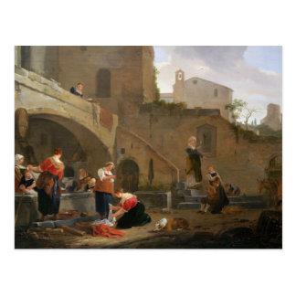 Lavanderas por una fuente romana tarjetas postales