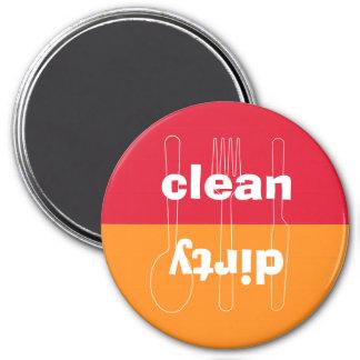 Lavaplatos anaranjado rojo limpio sucio del utensi imanes de nevera
