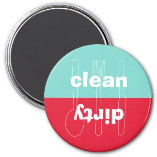 Lavaplatos azul rojo limpio sucio del utensilio mo imán de nevera