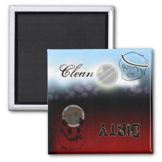 Lavaplatos - limpie/sucio imán cuadrado