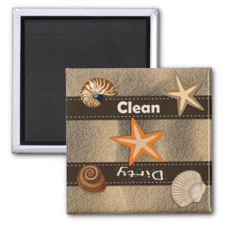 Lavaplatos limpio de la playa y sucio temático imán para frigorifico