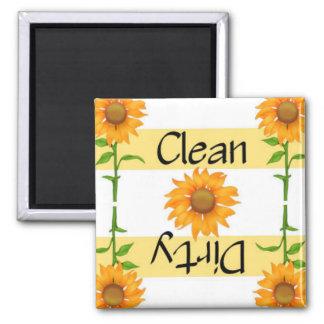 Lavaplatos limpio o sucio de los girasoles 2 imán cuadrado