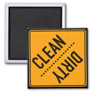 Lavaplatos limpio o sucio imán cuadrado