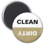 Lavaplatos limpio/sucio del brillo del oro imán para frigorifico