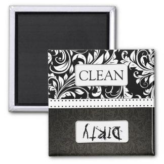 Lavaplatos limpio/sucio del damasco blanco y negro imán cuadrado