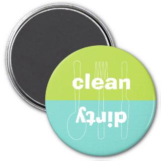 Lavaplatos limpio sucio del verde azul del utensil imán