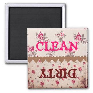 Lavaplatos sucio limpio color de rosa floral del v imanes para frigoríficos