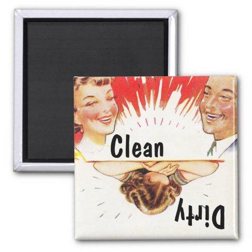 Lavaplatos sucio limpio de la diversión retra del  imanes de nevera