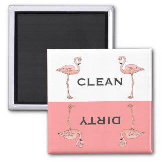 Lavaplatos sucio limpio del flamenco rosado clásic imán cuadrado