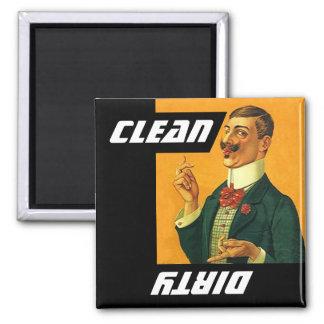 Lavaplatos sucio limpio del individuo aseado de la imanes