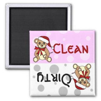 Lavaplatos sucio limpio lindo del oso de peluche d imán para frigorifico