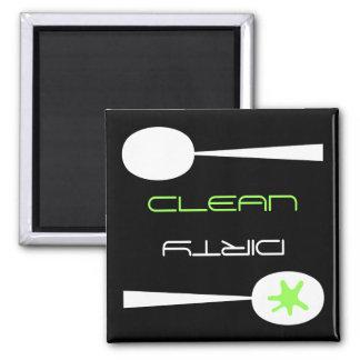 Lavaplatos verde blanco y negro limpio o sucio imán para frigorifico