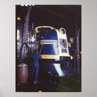 Lavar la locomotora póster