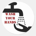 Lave a sus pegatinas de las manos pegatina redonda
