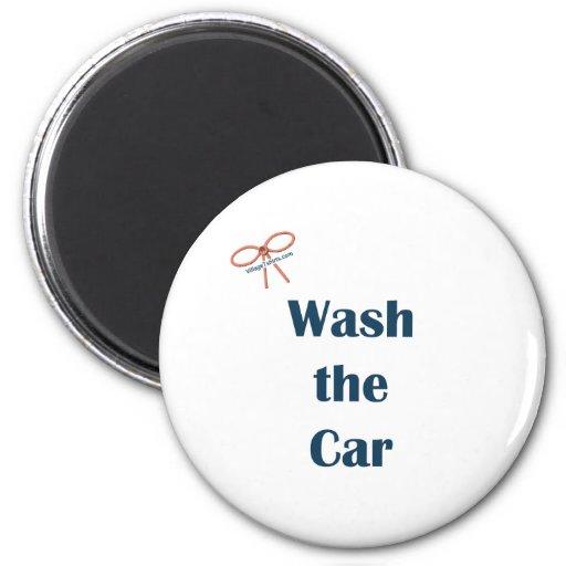 Lave los recordatorios del coche imán redondo 5 cm