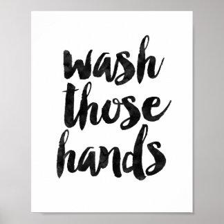 Lave manos póster
