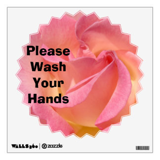 Lave por favor su color de rosa rosado de las vinilo adhesivo