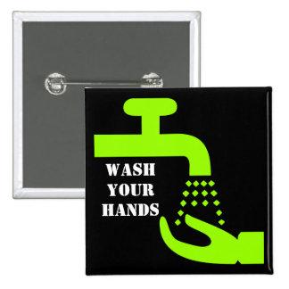 Lave su botón de las manos pin cuadrado