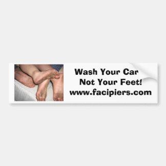 Lave su coche… ¡No sus pies Pegatina para el para Pegatina De Parachoque